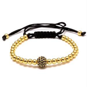 Jewelry - Gold Shamballa Crystal Beaded Lace Rope Bracelet